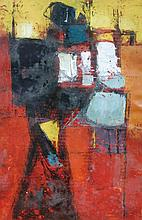§ Donald Hamilton Fraser (British, 1929-2009) Vertical study for a figure in red, black and yellow
