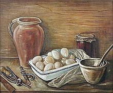 § Stanley Lewis, MBE, ARCA (Welsh, 1905-2009) Still Life of Eggs and a Jug, circa 1955