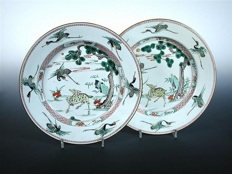 A pair of famille verte dishes, period of Kangxi,