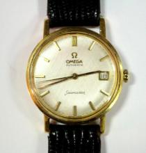 By Omega - a gentleman's 18ct gold cased automatic 'Seamaster' wristwatch,