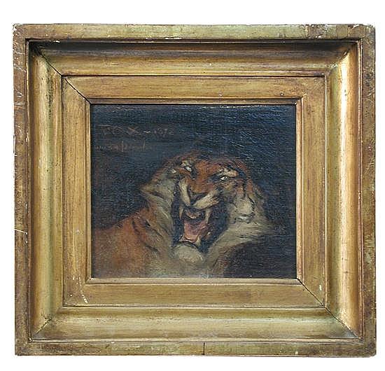 John Macallan Swan, RA, RWS (1847-1910)  - Head of a Tiger -oil on panel