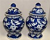 A pair of early 20th century blue and white jars and covers,