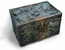 A copper chest bearing the Tokugawa mon, possibly late18th/early 19th century,