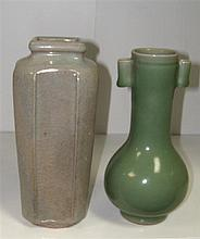 A celadon arrow vase and a pale blue glazed vase,
