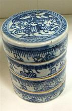 A nest of provincial blue and white boxes, possibly 18th century,