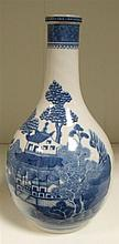 A late 18th century blue and white bottle vase