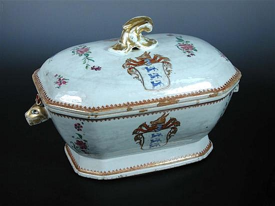 A mid 18th century armorial tureen and cover