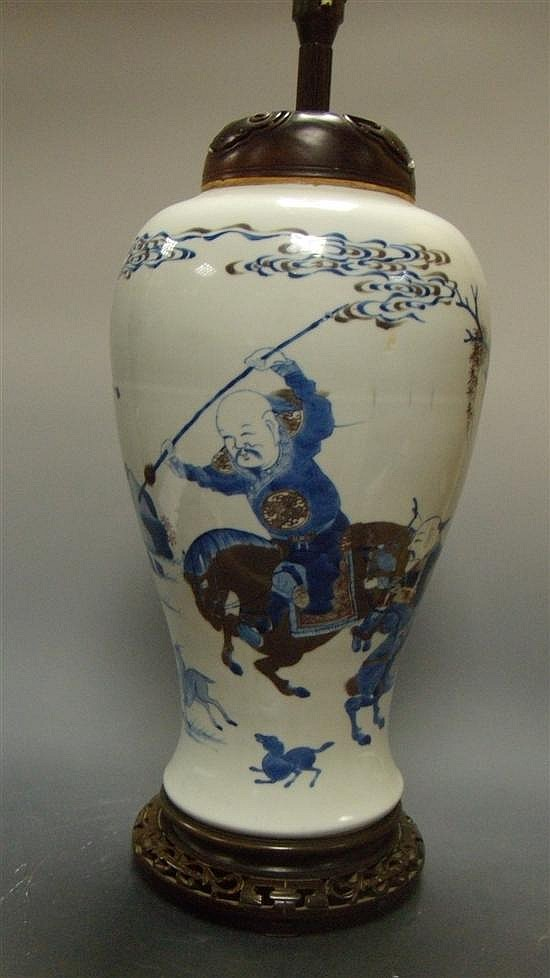 A late 19th/early 20th century underglaze blue and red vase/lamp