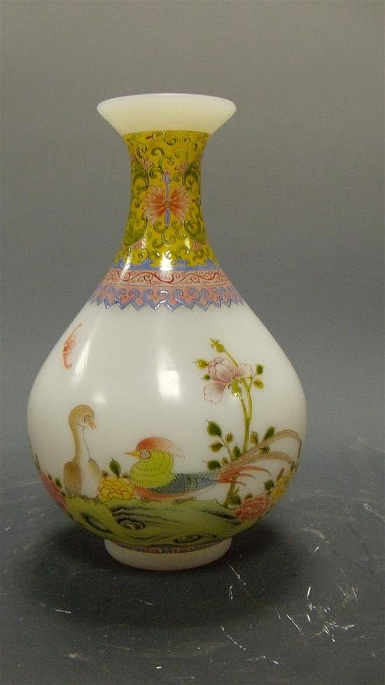 A Qianlong style glass vase,