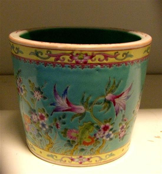 A Qianlong style famille rose brush pot,