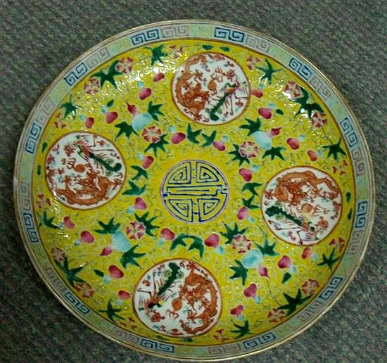 A yellow ground dish, six character mark of Guangxu,