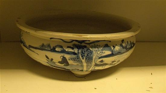A 19th century blue and white censer,