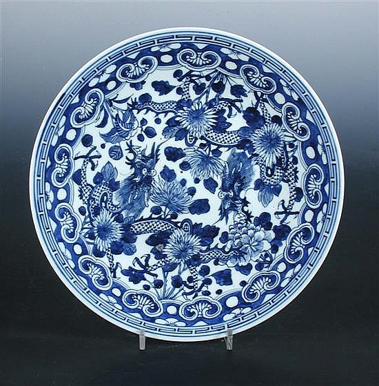 A 19th century blue and white dish