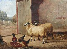 James Clarke (British, 1858-1943) Sheep and hens in a stable signed lower right with initials