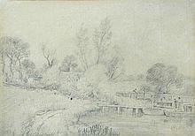 John Constable, RA (British, 1776-1837) - Flatford Lock with Flatford footbridge and Bridge Cottage in the distance, circa 1805-1807 i.