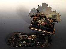 A Victorian papier mache letter rack and a pen tray,