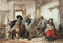 Herman Frederik Carel ten Kate (Dutch, 1822-1891) Boors carousing in a tavern signed lower right
