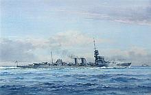§ Frank Watson Wood (British, 1862-1953) HMS Dauntless signed and dated lower right 'Frank Wood 1921