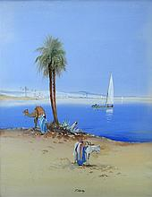 Captain Frederick Varley (British, 19th-20th Century) - An Arab with his donkey by the Nile; and A Camel with Arabs by the Nile both s.