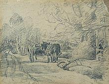 John Constable, RA (British, 1776-1837) Heavy Horse at rest beside a plough, 1816 inscribed by the artist in pencil lower left