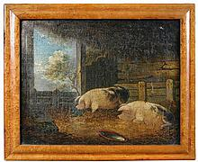 Attributed to George Morland (British, 1763-1804) Two Doleful Pigs in a Sty signed lower right with initials