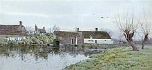 Arthur Anderson Fraser (British, 1861-1904) The Old Boat House, Hemingford Grey, with Willow Cottage signed lower right with initial...
