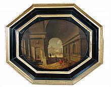 Hans Juriaensz van Baden (Dutch, 1604-1663) Interior scene with figures signed on the arch centre right
