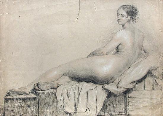 French School (19th Century) - Study of an Odalisque - pencil