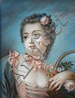 Follower of Francois Boucher -  Portrait of Madame de Pompadour - pastel