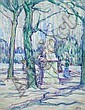 Jessica Dismorr - Luxembourg Gardens - signed lower right with monogram