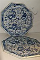 A pair of early 20th century blue and white octagonal tiles,