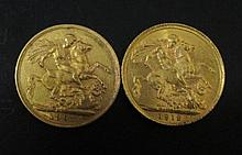 A 1907 gold sovereign and another 1912 (2)