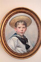 Sir Arthur Stockdale Cope, PRA (British, 1857-1940) - Portrait of Charles Richard Britten (1894-  ) as a small boy, aged 10, in a sail.