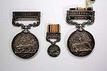 South Africa Medal, 2nd Lt A B Ridley 24th Foot, (clasp for 1879) with duplicate (differently inscribed) and a miniature (3)