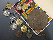 WWI medals, five groups,