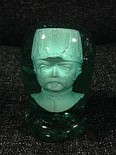 A glass dump with a clay pipe bowl cast as a general