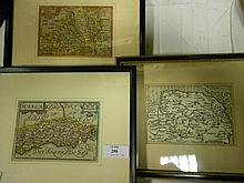 Three 17th century reduced size county maps,