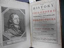 STANLEY (Thomas) The History of Philosophy, third edition London 1701, folio, portrait frontispiece, some water staining to fi...