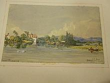A Victorian watercolour album, with mainly Henley and Thames scenes by an amateur hand, 16 mounted on leaves, titled, circa mi...