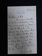 GALSWORTHY (John; English novelist and playwright, 1867–1933) Autograph letter signed, to Professor Paul de Reul (1871-1945) Profess...