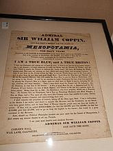 An unusual Electioneering Broadsheet 'Admiral Sir William Coppin... Member for the Island of Mesopotamia for many years...', l...