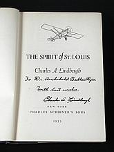 LINDBERGH (Charles A) The Spirit of St Louis, New York 1953, signed and inscribed to title by the author to Dr Archibald Balla...