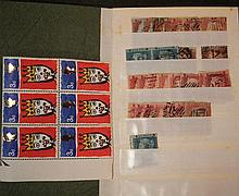 Stamps, mixed assortment including small collection of 1d reds; 3d block of six Christmas 1966 by T.Shemza with 'T' printing error t...