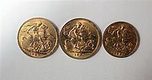 Two gold sovereigns 1927 and 1930,