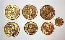 Four gold sovereigns,
