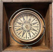 An oak cased ship's compass, early 20th century