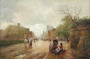 James Walter Gozzard (1888-1950) A Traveller on a Grey Horse, with a Woman selling Vegetables by the Roadside; and Returning from the Market, both signed