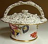 An early 19th century pot pourri basket and cover, possibly Coalport,