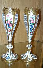 A pair of mid 19th century Bohemian vases,