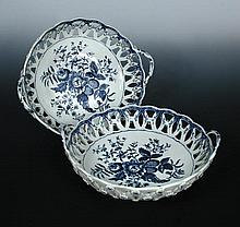 A pair of 18th century Worcester blue and white baskets
